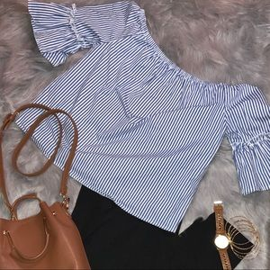 Striped off the shoulder blouse ONLY